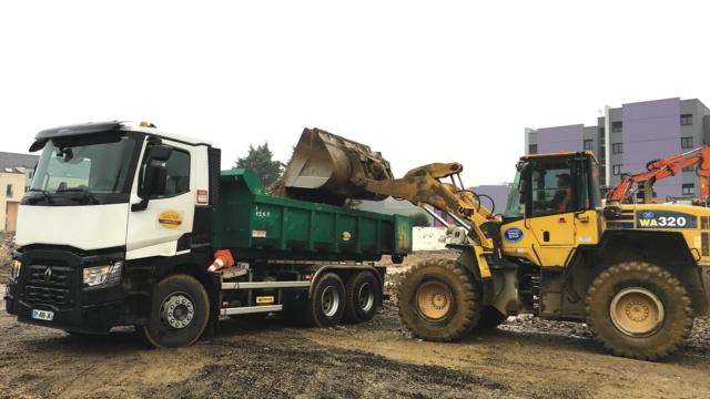 Transport de déchets de la démolition